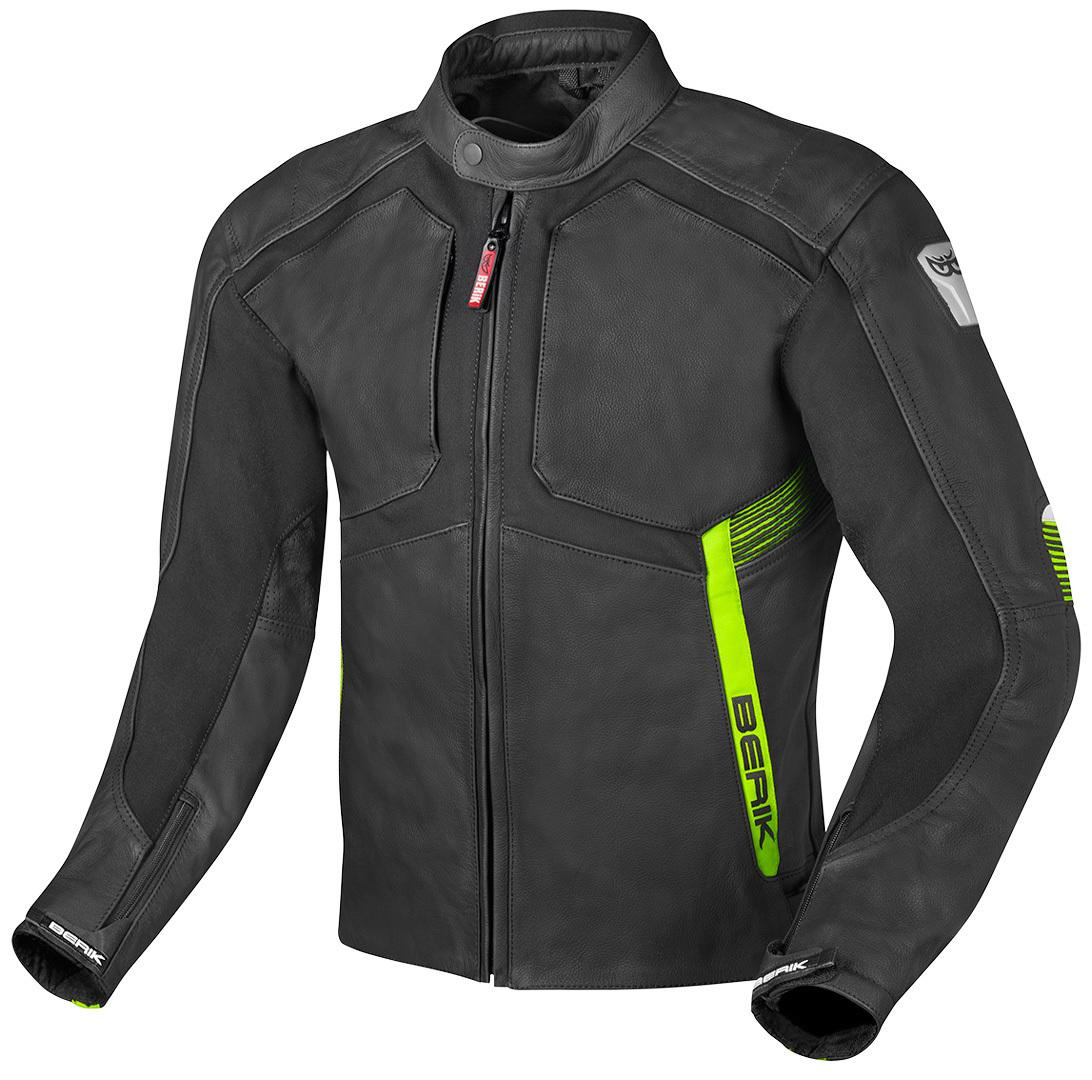 Berik Flexius Motorrad Lederjacke, schwarz-gelb, Größe 56, schwarz-gelb, Größe 56