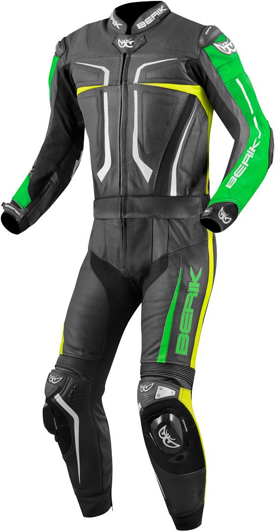 Berik Flumatic Evo 2-Teiler Motorrad Lederkombi, schwarz-grün-gelb, Größe 60, schwarz-grün-gelb, Größe 60
