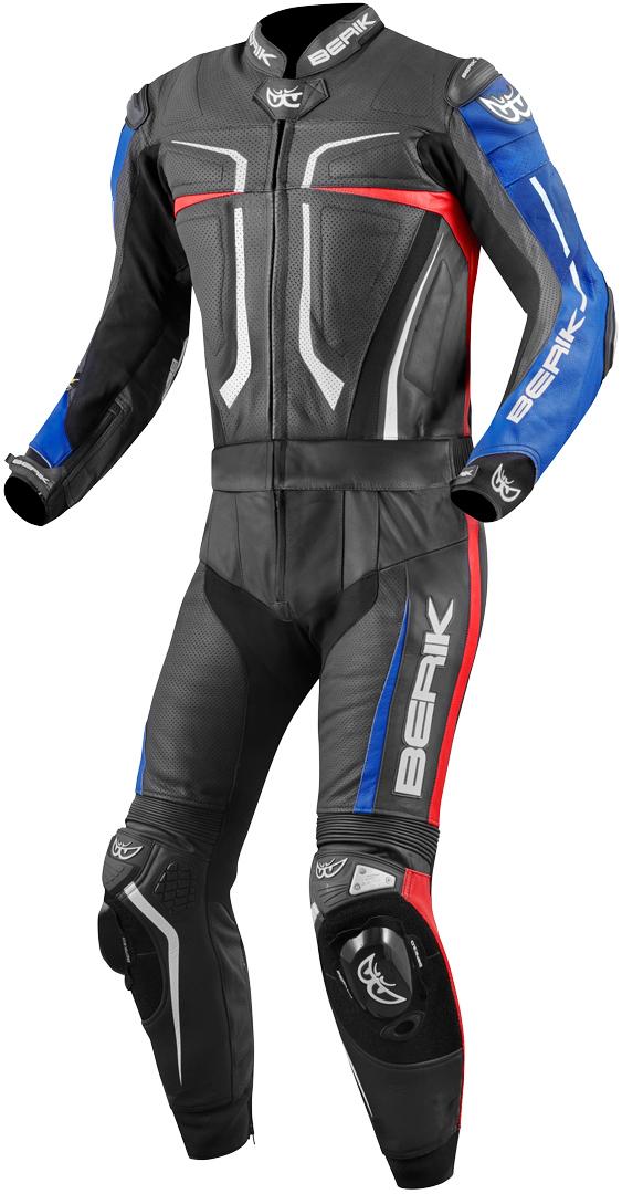 Berik Flumatic Evo 2-Teiler Motorrad Lederkombi, schwarz-rot-blau, Größe 56, schwarz-rot-blau, Größe 56