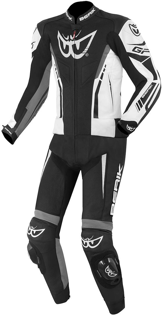 Berik Monza 2-Teiler Motorrad Lederkombi, schwarz-grau-weiss, Größe 50, schwarz-grau-weiss, Größe 50