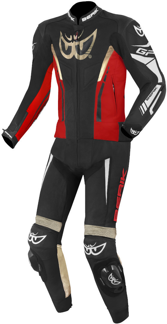 Berik Monza 2-Teiler Motorrad Lederkombi, schwarz-rot-gold, Größe 60, schwarz-rot-gold, Größe 60