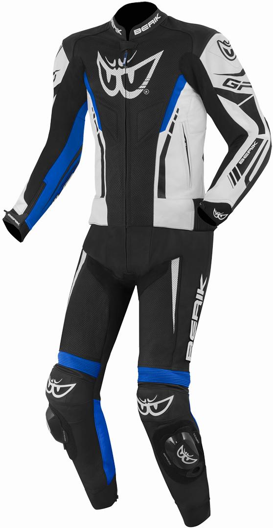 Berik Monza 2-Teiler Motorrad Lederkombi, schwarz-weiss-blau, Größe 52, schwarz-weiss-blau, Größe 52