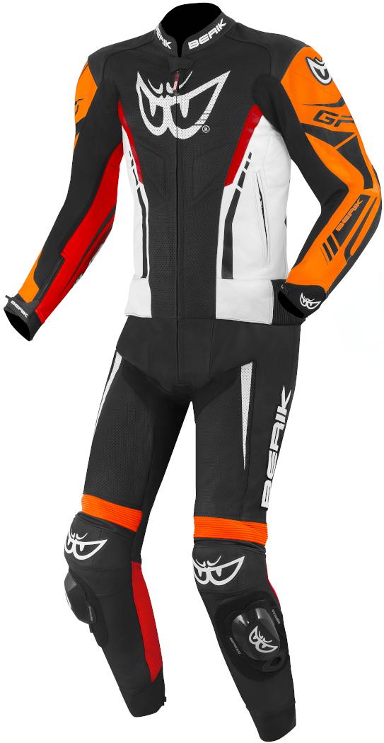 Berik Monza 2-Teiler Motorrad Lederkombi, schwarz-weiss-rot-orange, Größe 50, schwarz-weiss-rot-orange, Größe 50