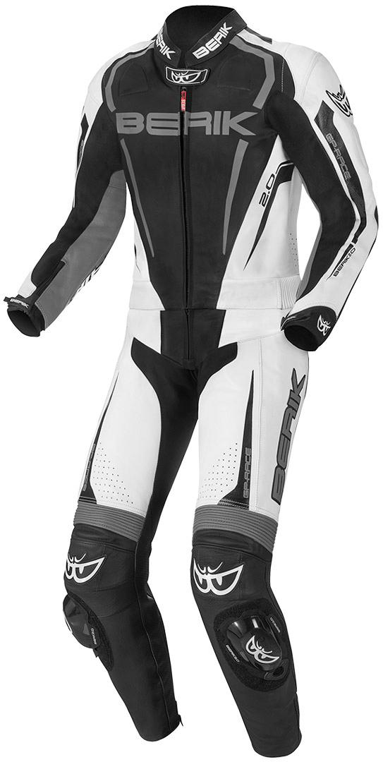 Berik Race-X 2-Teiler Motorrad Lederkombi, schwarz-grau-weiss, Größe 50, schwarz-grau-weiss, Größe 50