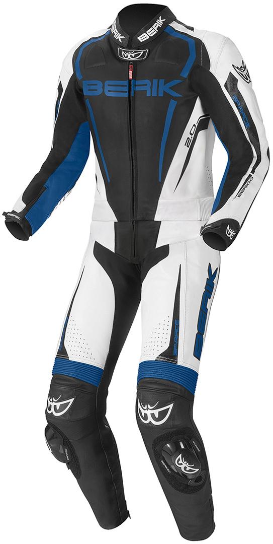 Berik Race-X 2-Teiler Motorrad Lederkombi, schwarz-weiss-blau, Größe 48, schwarz-weiss-blau, Größe 48