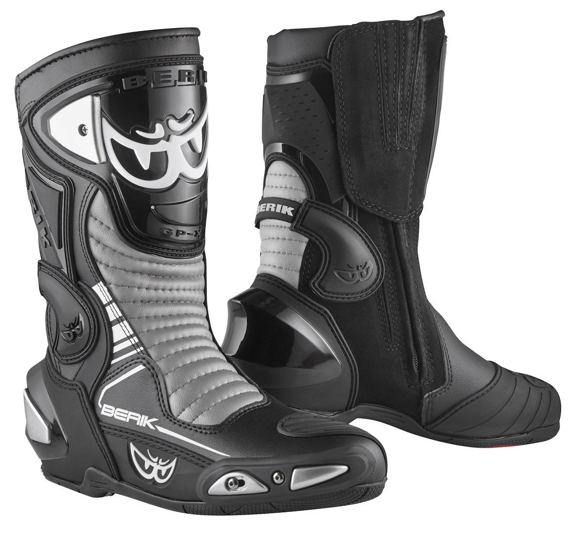 Berik Race-X EVO Motorradstiefel, schwarz-grau-weiss, Größe 46, schwarz-grau-weiss, Größe 46