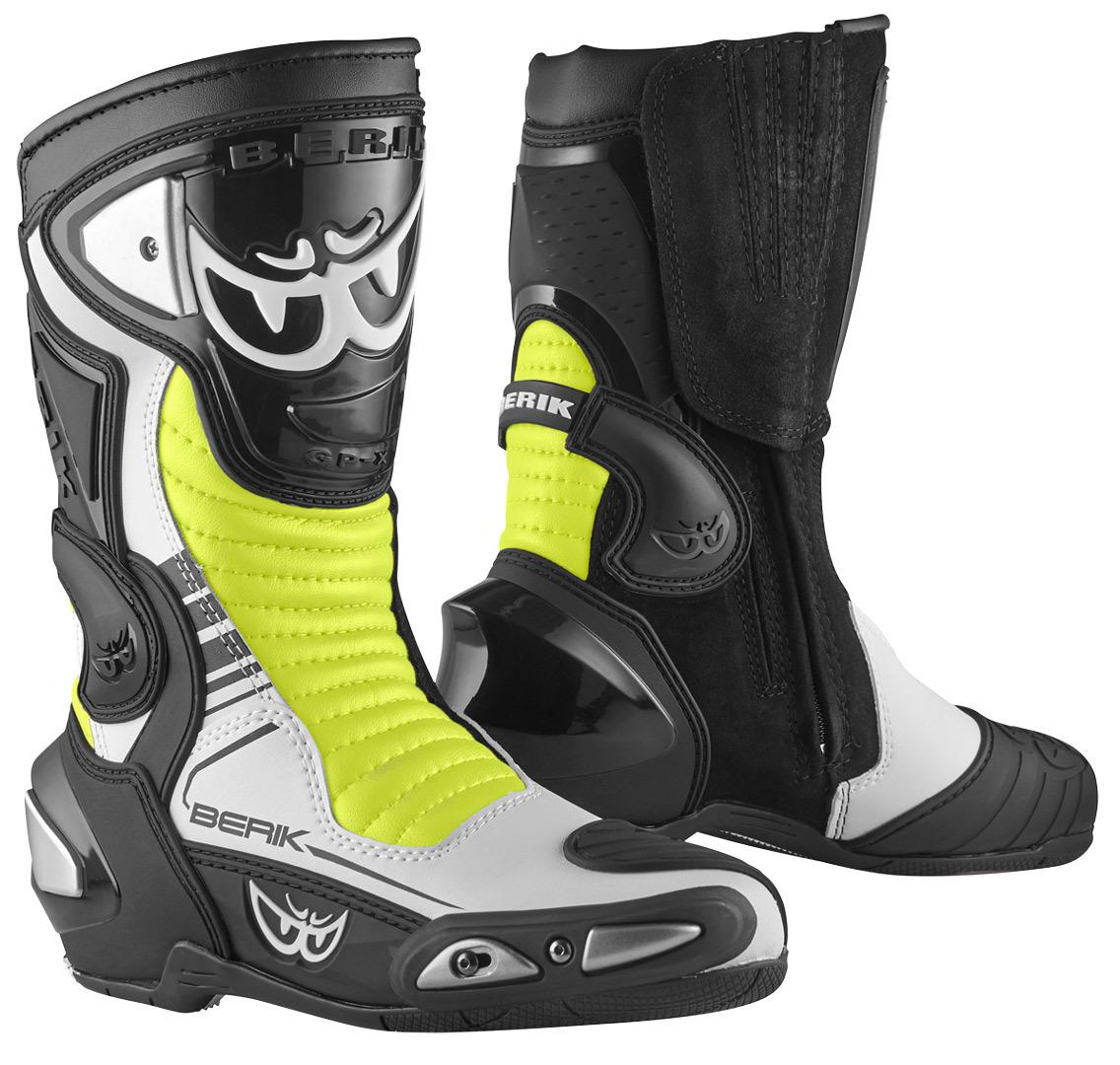 Berik Race-X EVO Motorradstiefel, schwarz-weiss-gelb, Größe 41, schwarz-weiss-gelb, Größe 41