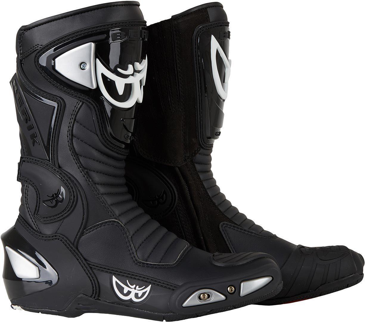 Berik Race-X Motorradstiefel, schwarz, Größe 44, schwarz, Größe 44