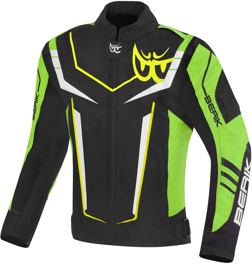 Berik Radic Evo Plus wasserdichte Motorrad Textiljacke, schwarz-grün-gelb, Größe 60, schwarz-grün-gelb, Größe 60