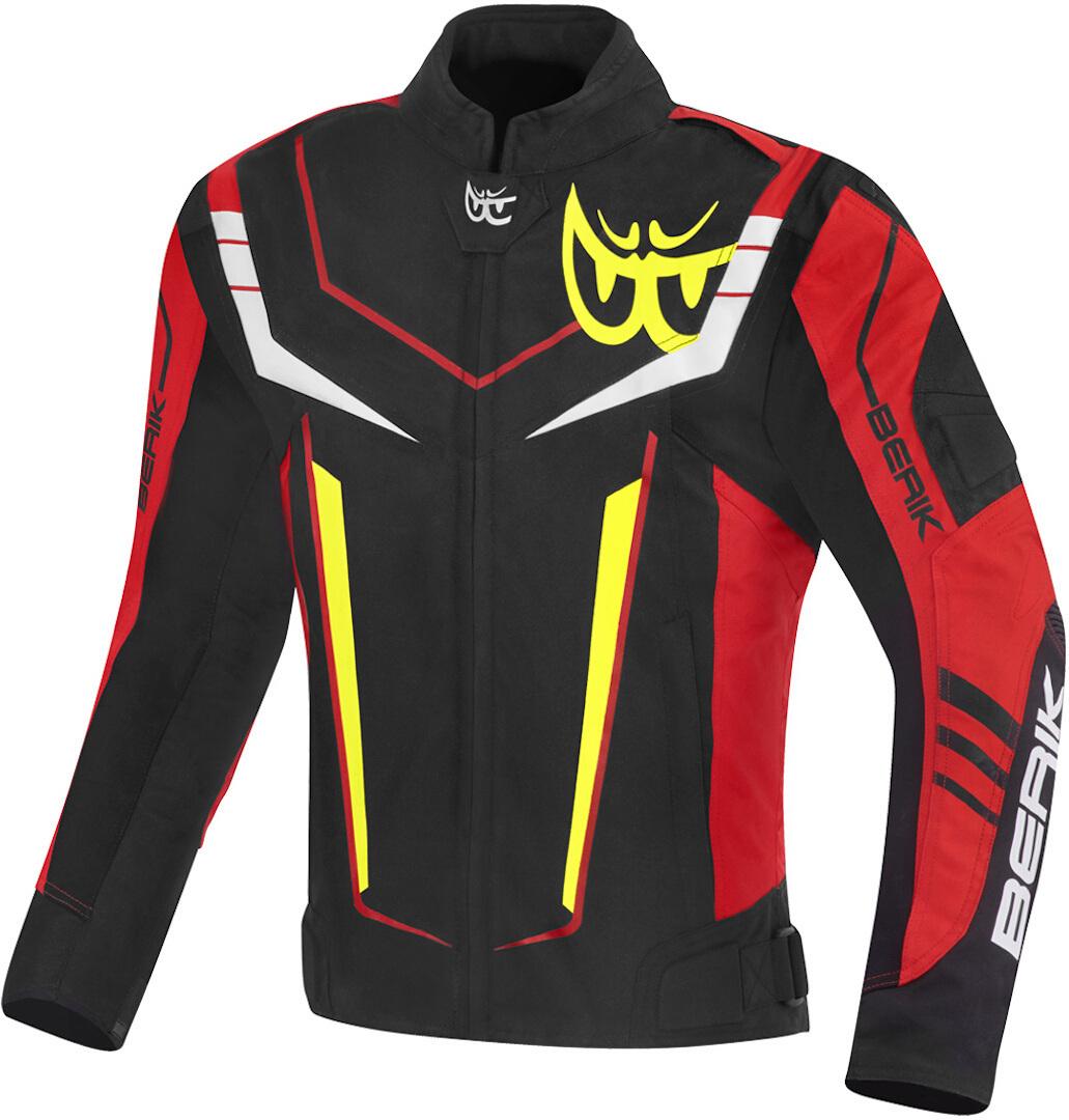 Berik Radic Evo Plus wasserdichte Motorrad Textiljacke, schwarz-weiss-rot-gelb, Größe 56, schwarz-weiss-rot-gelb, Größe 56
