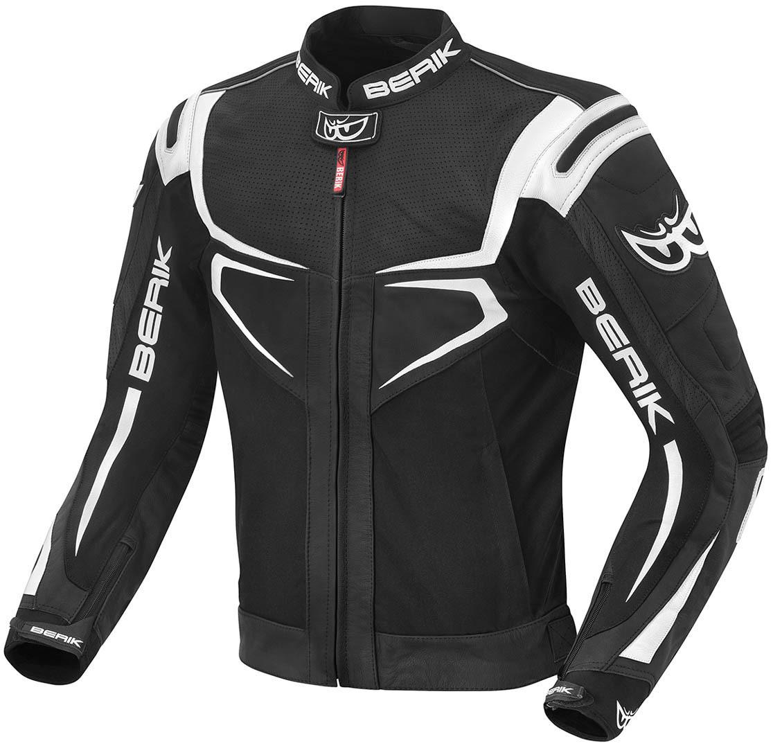 Berik Radic Motorrad Lederjacke, schwarz-weiss, Größe 54, schwarz-weiss, Größe 54