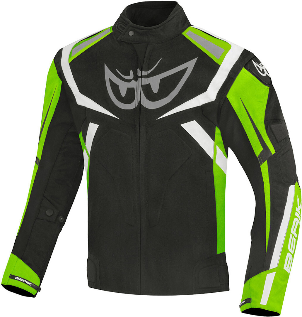 Berik The Eye wasserdichte Motorrad Textiljacke, schwarz-grün, Größe 48, schwarz-grün, Größe 48