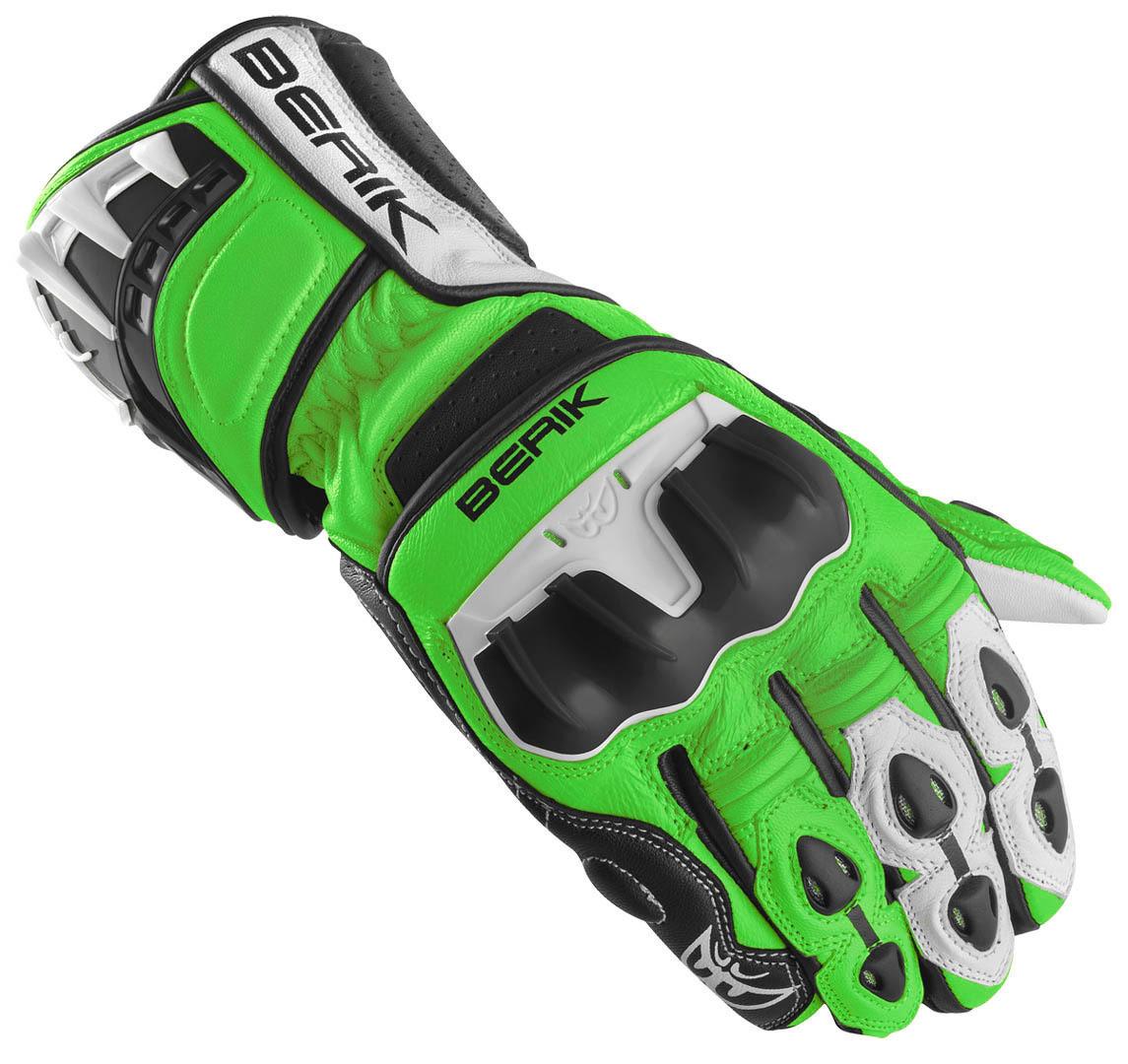 Berik Track Plus Motorradhandschuhe, schwarz-weiss-grün, Größe XL, schwarz-weiss-grün, Größe XL