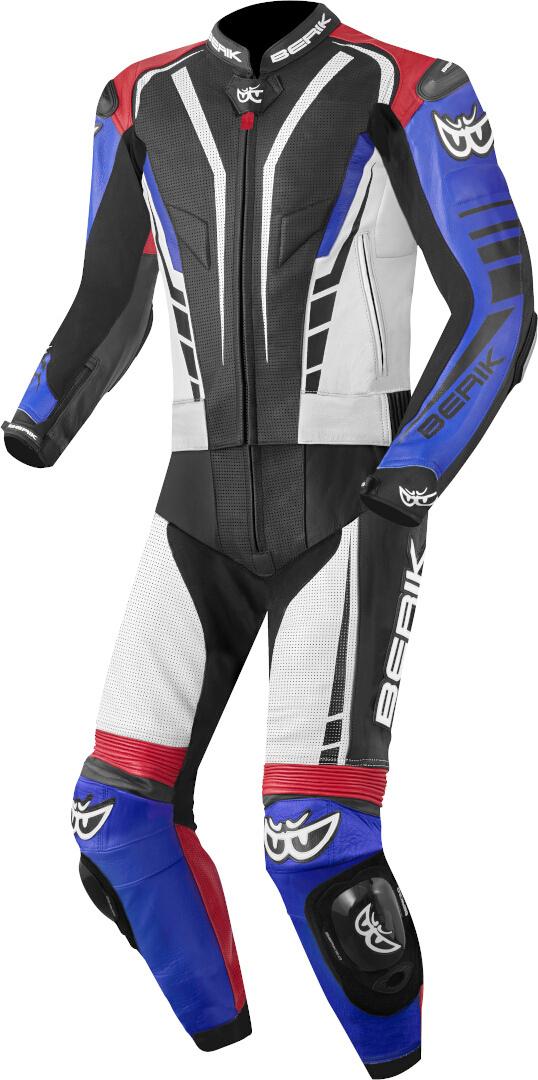 Berik XR-Ace 2-Teiler Motorrad Lederkombi, schwarz-weiss-rot-blau, Größe 48, schwarz-weiss-rot-blau, Größe 48