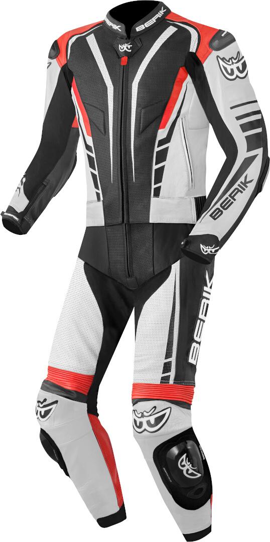 Berik XR-Ace 2-Teiler Motorrad Lederkombi, schwarz-weiss-rot, Größe 58, schwarz-weiss-rot, Größe 58