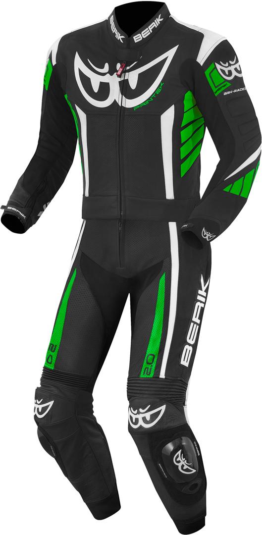 Berik Zakura 2-Teiler Motorrad Lederkombi, schwarz-weiss-grün, Größe 48, schwarz-weiss-grün, Größe 48