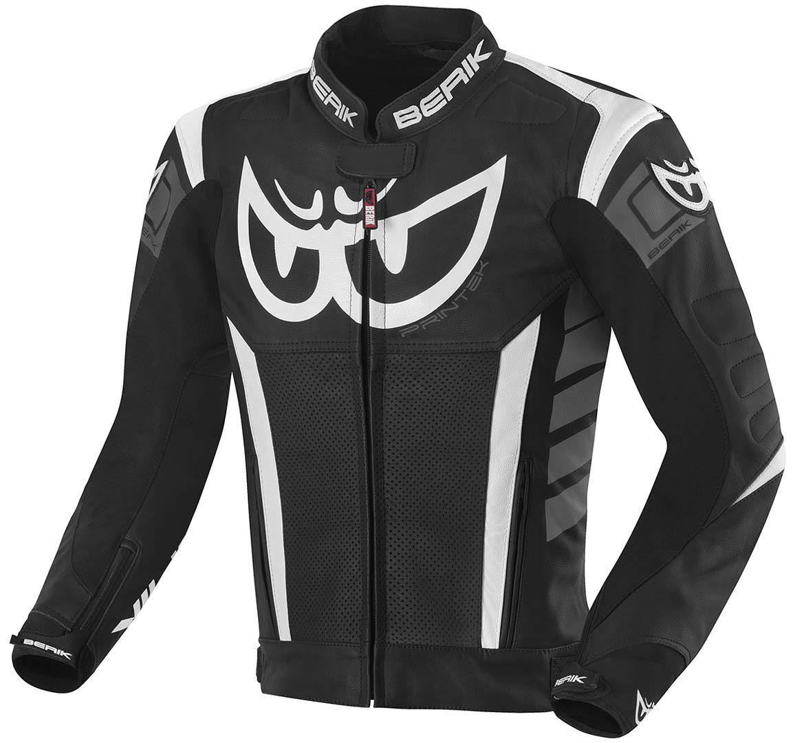 Berik Zakura Motorrad Lederjacke, schwarz-grau-weiss, Größe 50, schwarz-grau-weiss, Größe 50