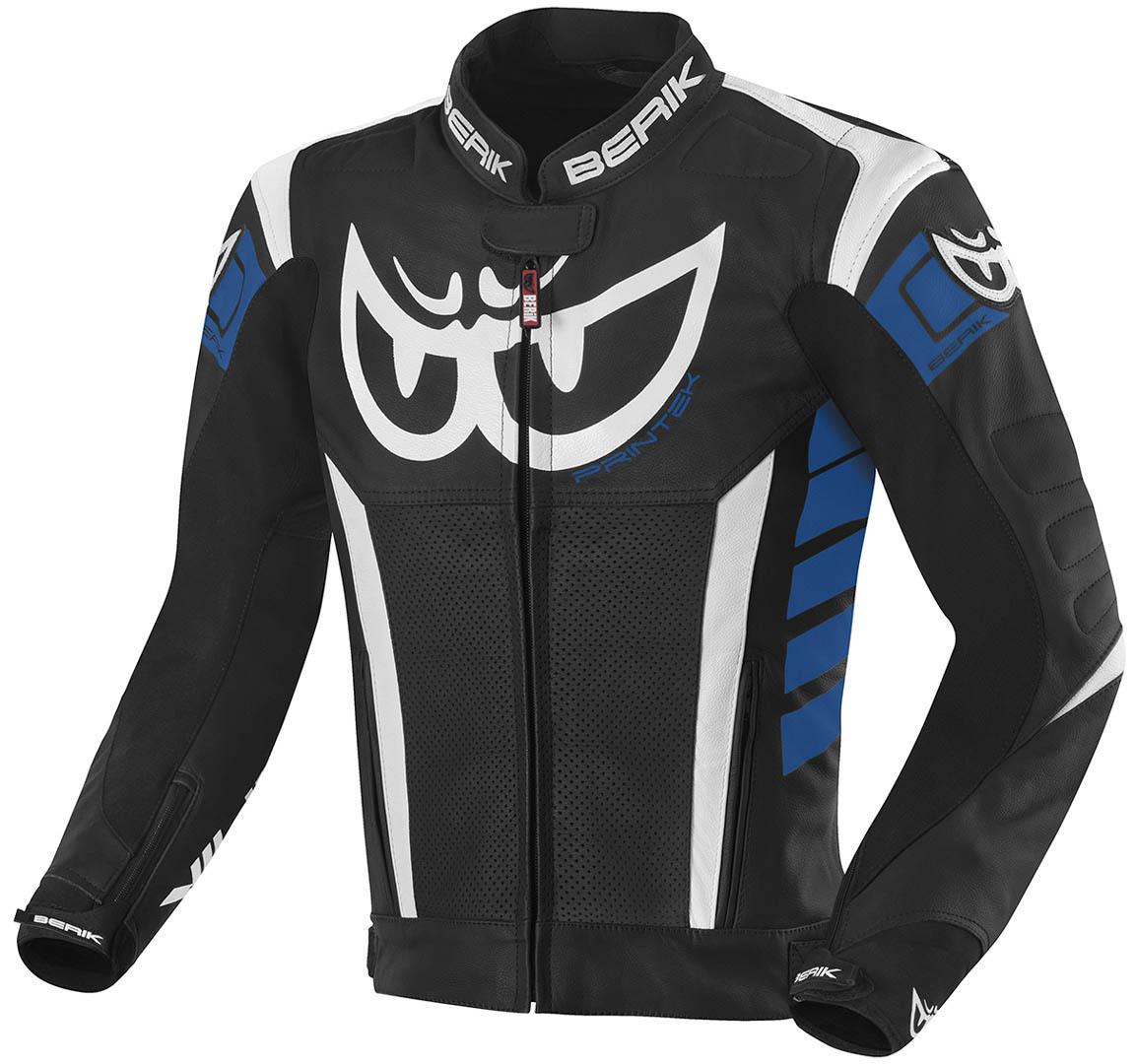 Berik Zakura Motorrad Lederjacke, schwarz-weiss-blau, Größe 48, schwarz-weiss-blau, Größe 48
