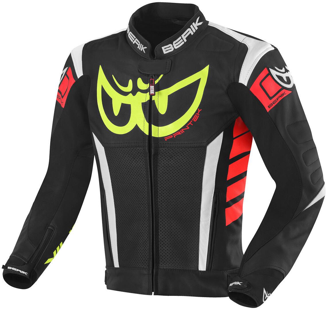 Berik Zakura Motorrad Lederjacke, schwarz-weiss-rot-gelb, Größe 56, schwarz-weiss-rot-gelb, Größe 56
