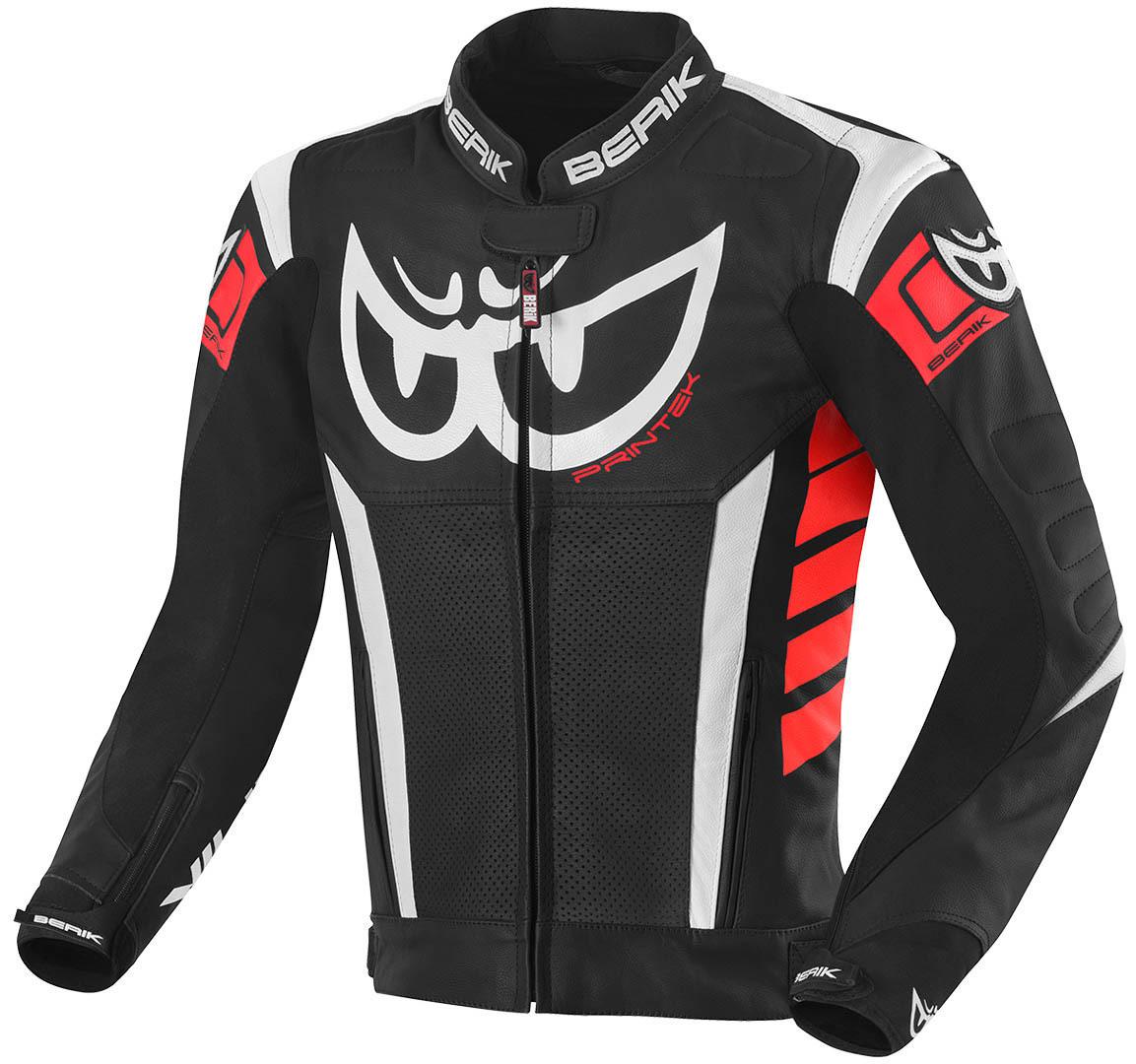 Berik Zakura Motorrad Lederjacke, schwarz-weiss-rot, Größe 58, schwarz-weiss-rot, Größe 58