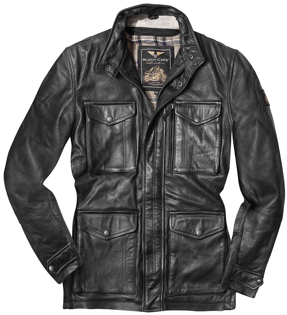 Black-Cafe London Classic Motorrad Lederjacke, schwarz, Größe 52, schwarz, Größe 52