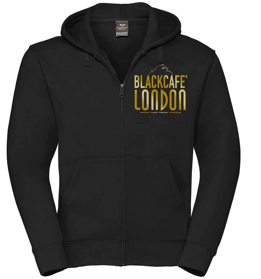 Black-Cafe London Classic Zip Hoodie, schwarz-gold, Größe 2XL, schwarz-gold, Größe 2XL
