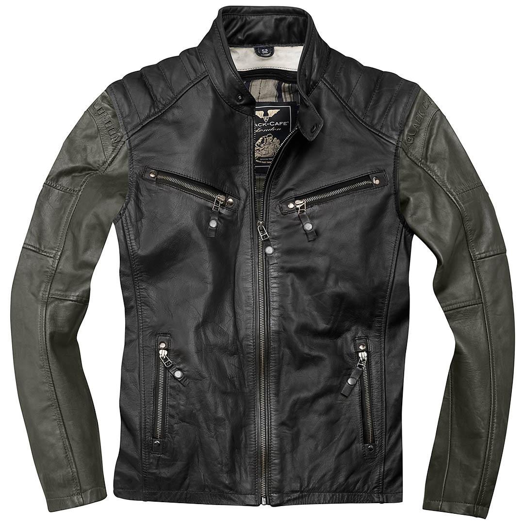 Black-Cafe London Firenze Motorrad Lederjacke, schwarz-grün, Größe 54, schwarz-grün, Größe 54