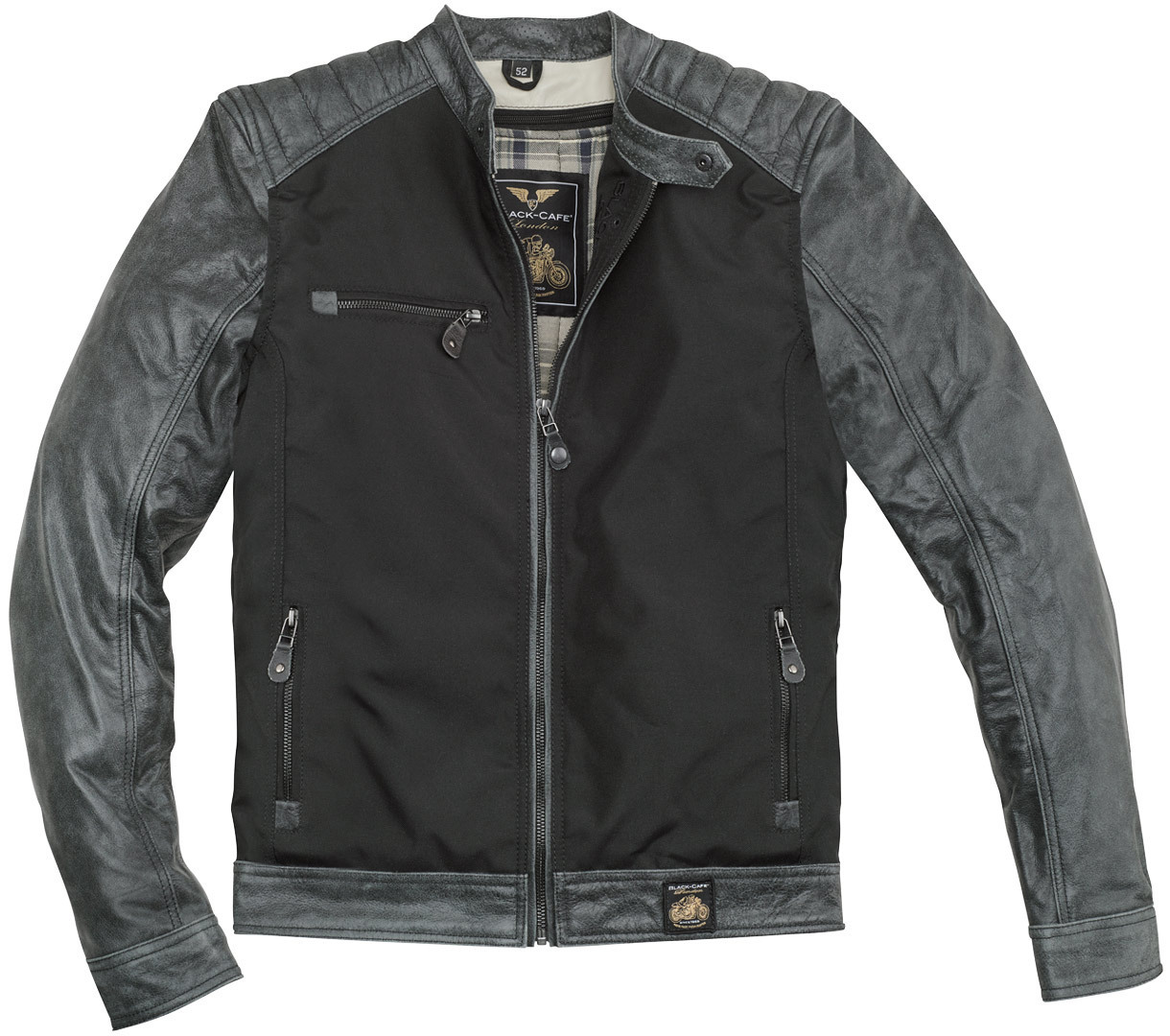 Black-Cafe London Johannesburg Motorrad Leder- / Textiljacke, schwarz-grau, Größe 58, schwarz-grau, Größe 58