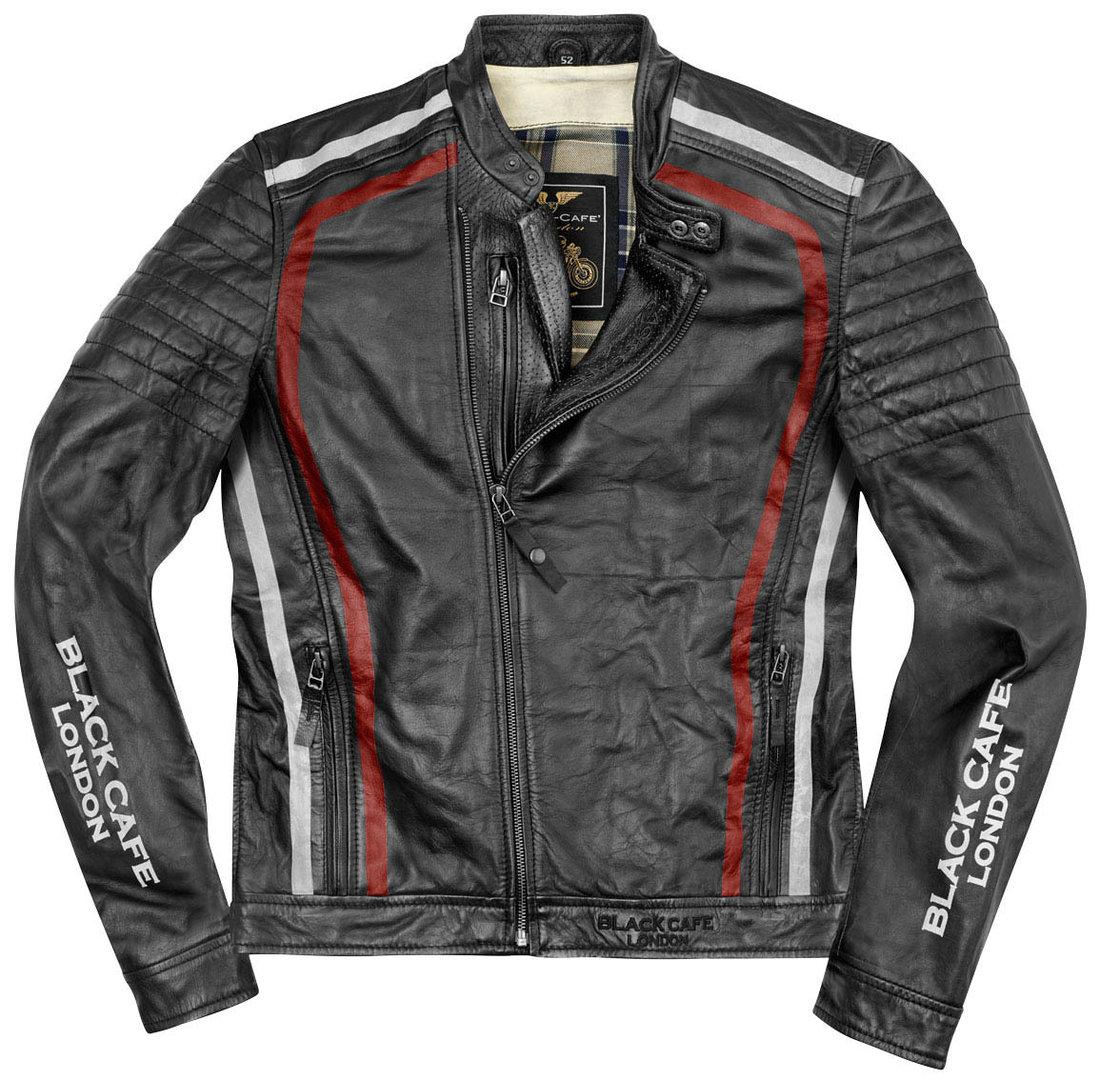 Black-Cafe London Seoul Motorrad Lederjacke, schwarz-weiss-rot, Größe 58, schwarz-weiss-rot, Größe 58
