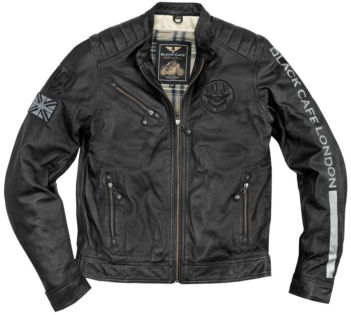 Black-Cafe London Shanghai Motorrad Lederjacke, schwarz-weiss, Größe 56, schwarz-weiss, Größe 56