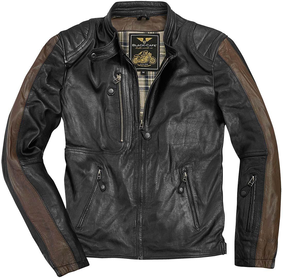Black-Cafe London Vintage Motorrad Lederjacke, schwarz-braun, Größe 50, schwarz-braun, Größe 50