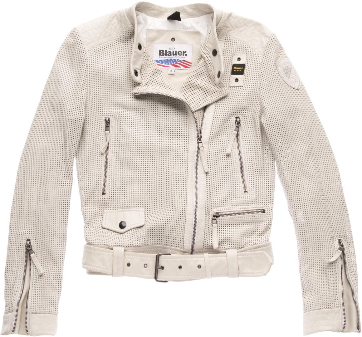 Blauer USA Moore Perforierte Damen Lederjacke, grau-beige, Größe M, grau-beige, Größe M