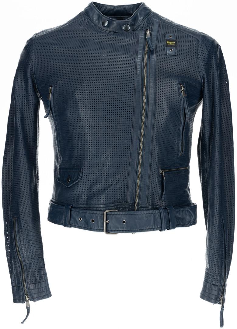 Blauer USA Moore Perforierte Damen Lederjacke, Größe XL, blau, Größe XL