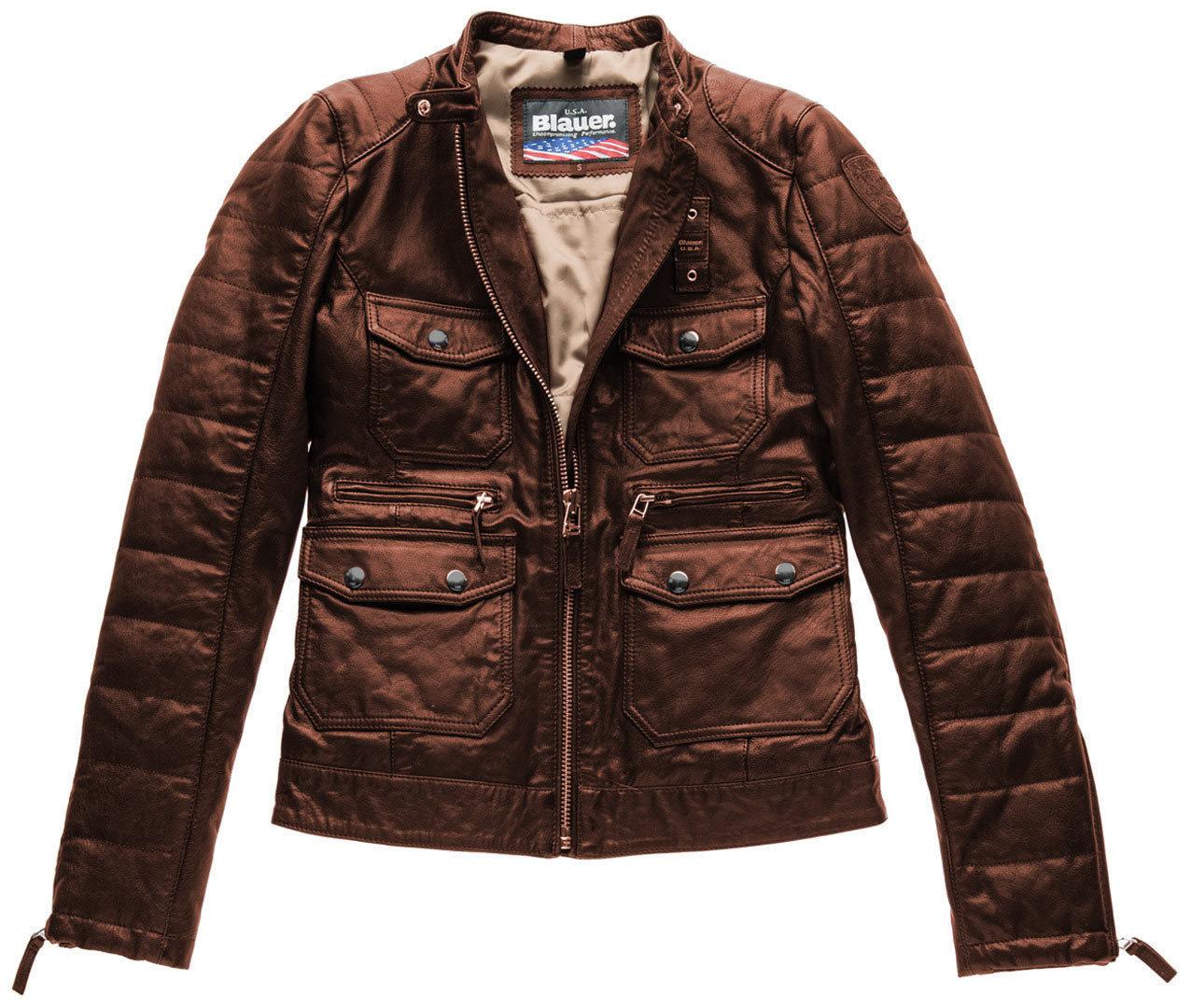 Blauer USA Rider Pocket Padded Damen Lederjacke, braun, Größe XS, braun, Größe XS