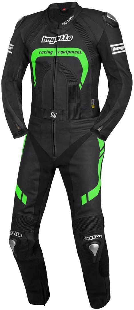 Bogotto Assen 2-Teiler Motorrad Lederkombi, schwarz-grün, Größe 50, schwarz-grün, Größe 50