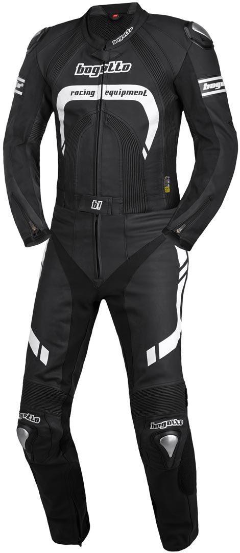 Bogotto Assen 2-Teiler Motorrad Lederkombi, schwarz-weiss, Größe 54, schwarz-weiss, Größe 54