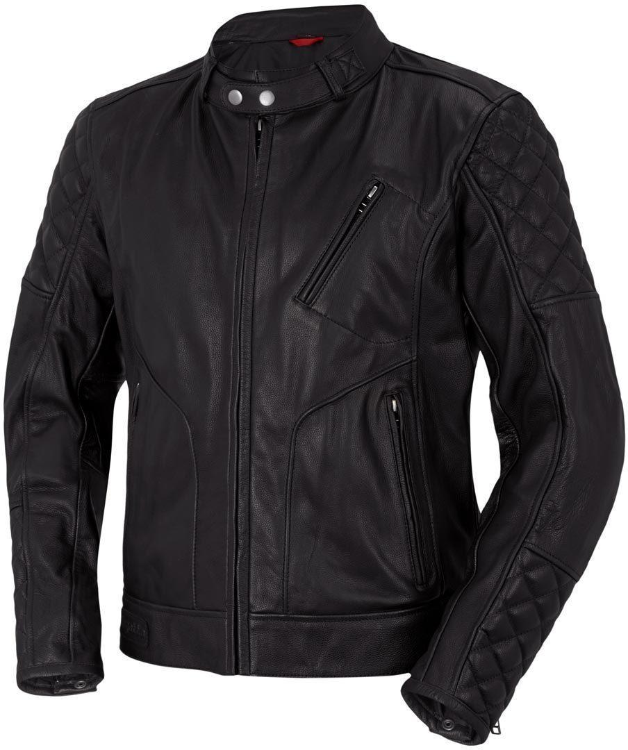 Bogotto Chicago Retro Motorrad Lederjacke, schwarz, Größe 58, schwarz, Größe 58
