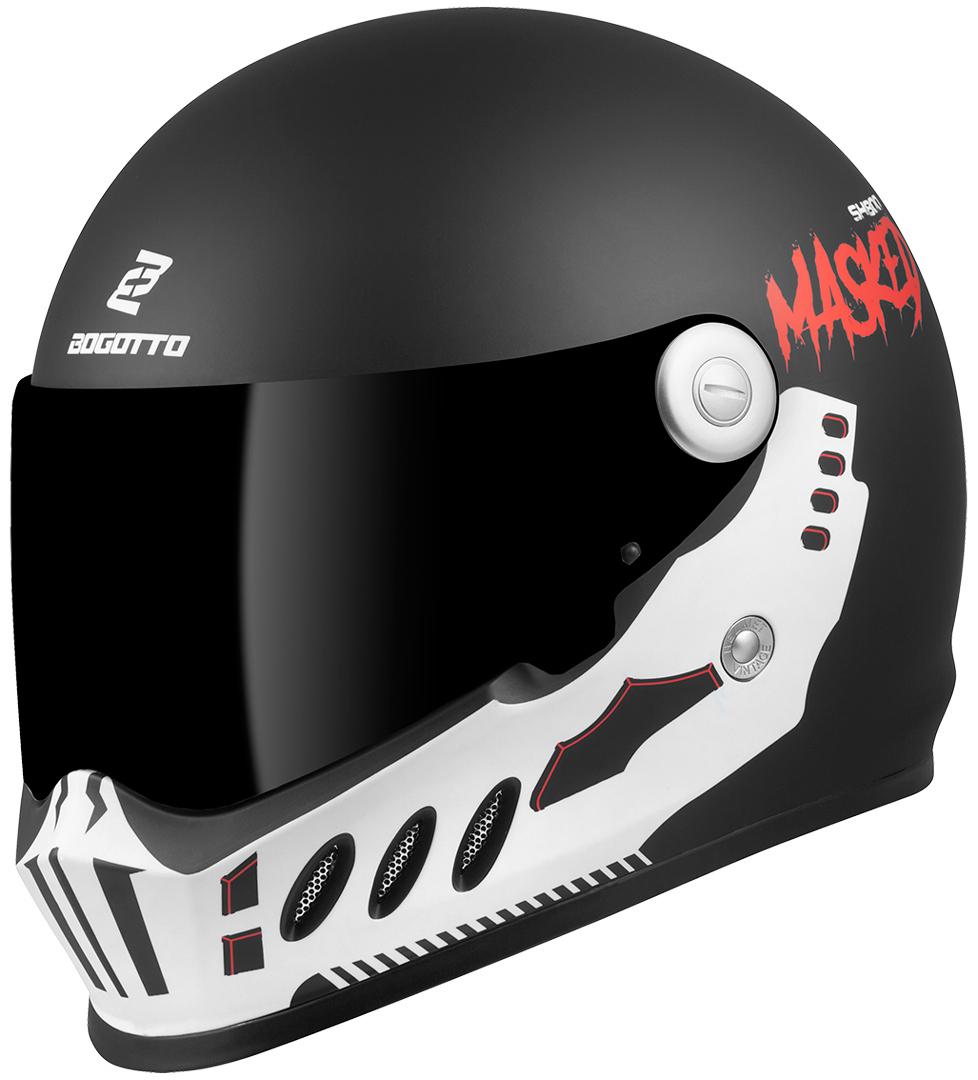 Bogotto SH-800 Masked Helm, schwarz-weiss, Größe L, schwarz-weiss, Größe L
