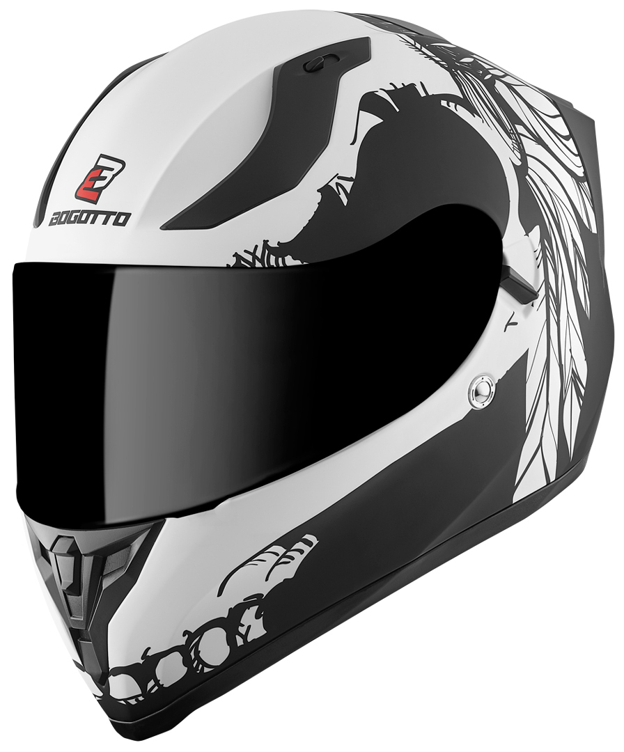 Bogotto V128 Comanche Helm, schwarz-weiss, Größe L, schwarz-weiss, Größe L