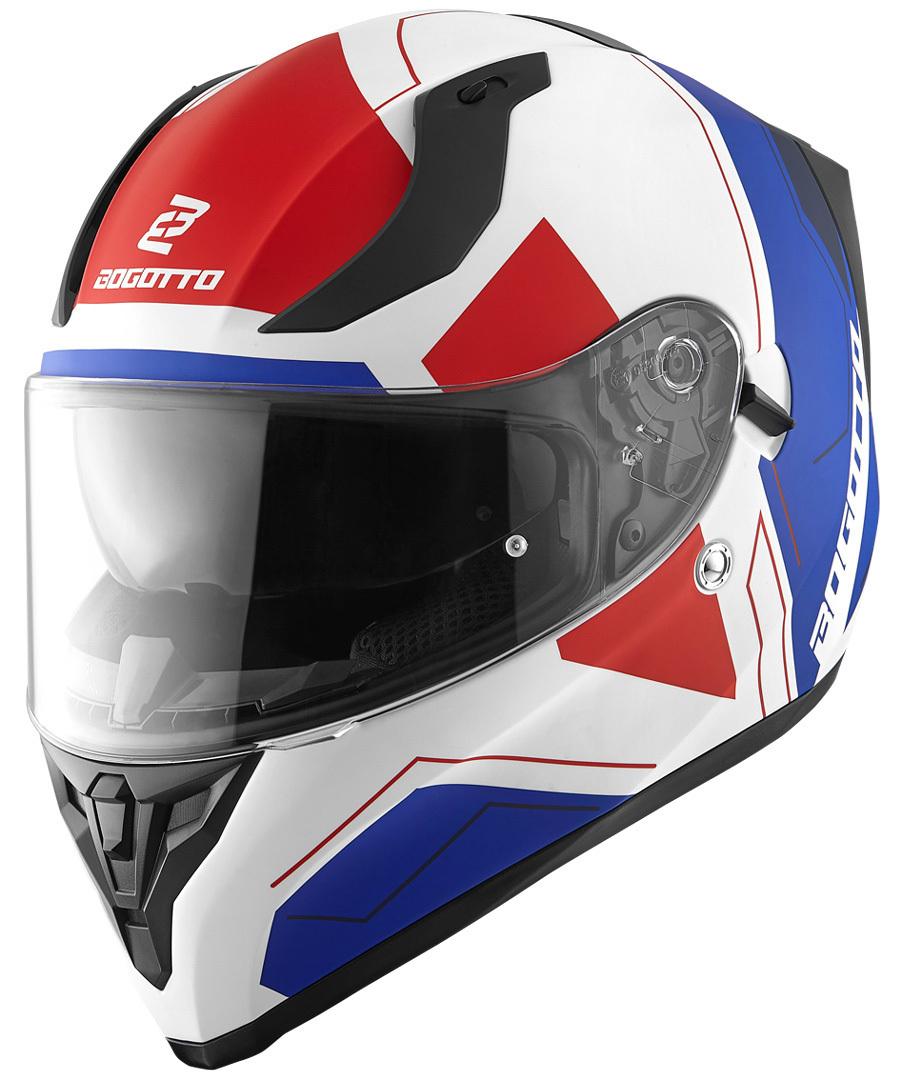 Bogotto V128 Strada Helm, weiss-rot-blau, Größe S, weiss-rot-blau, Größe S