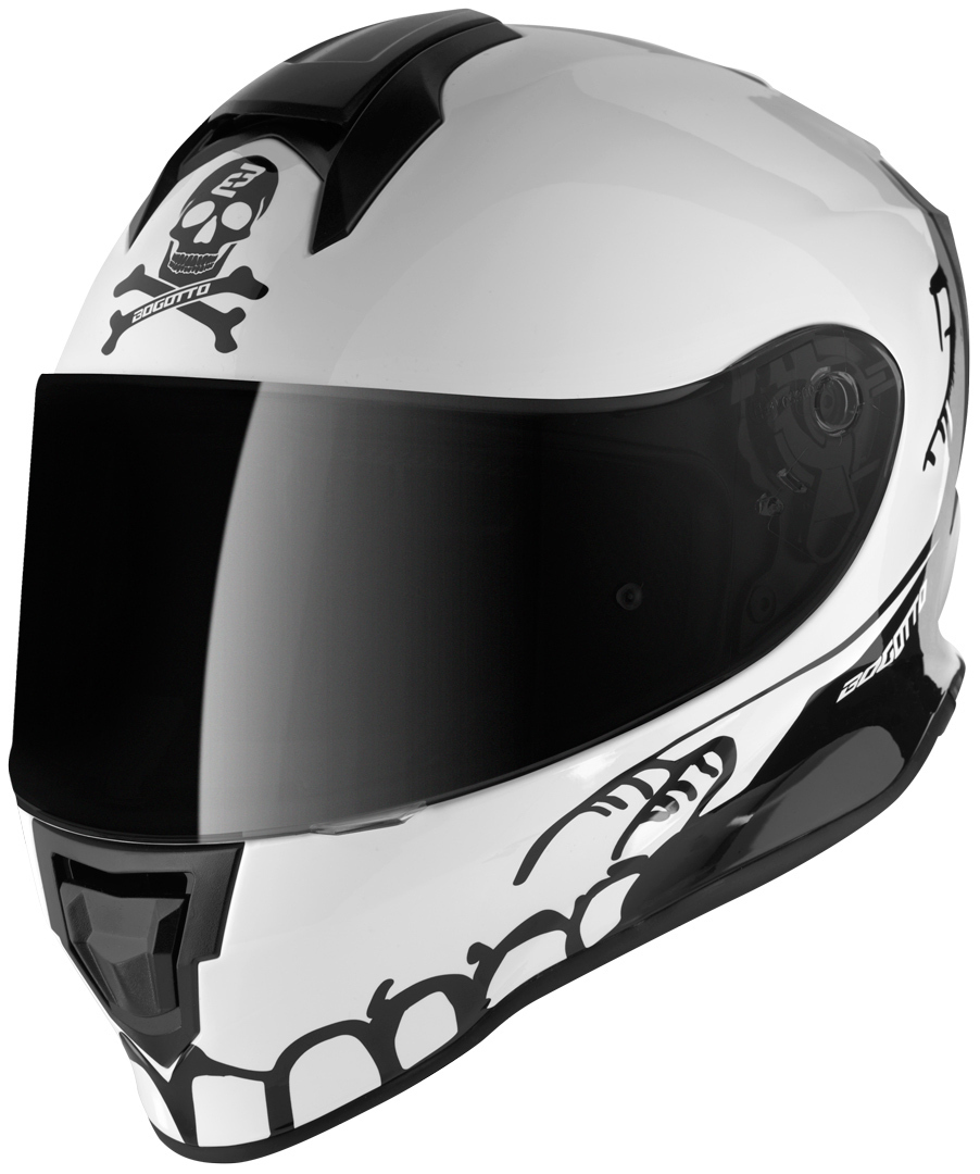Bogotto V151 Skelly Kinder Helm, schwarz-weiss, Größe S, schwarz-weiss, Größe S