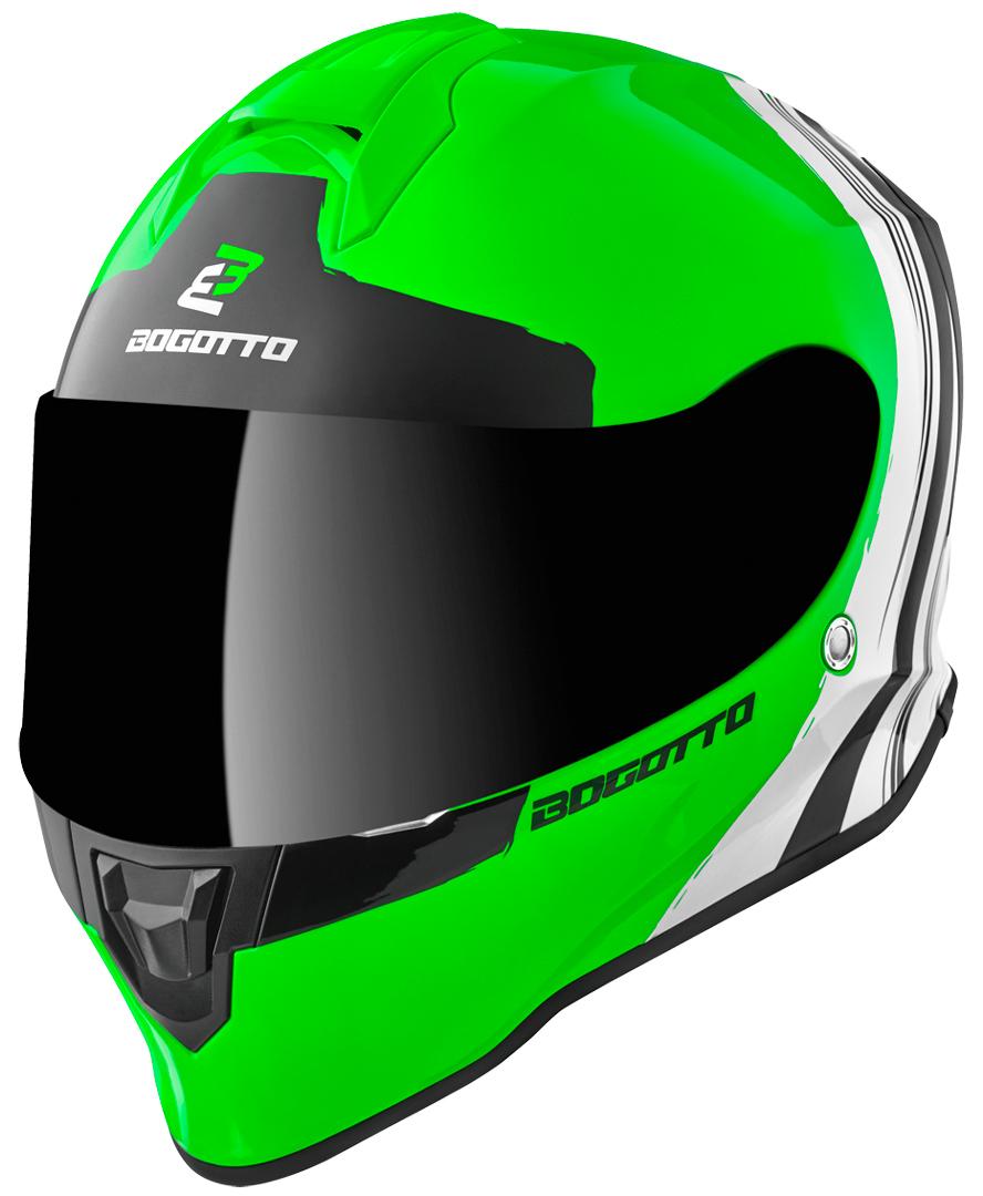 Bogotto V151 Wild-Ride Helm, schwarz-weiss-grün, Größe S, schwarz-weiss-grün, Größe S