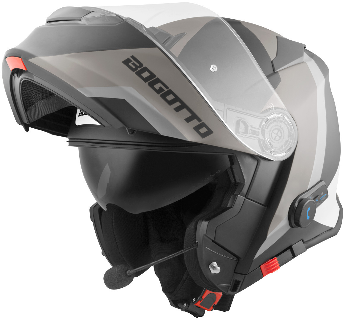Bogotto V271 BT Zabu Bluetooth Klapphelm, schwarz-grau, Größe S, schwarz-grau, Größe S