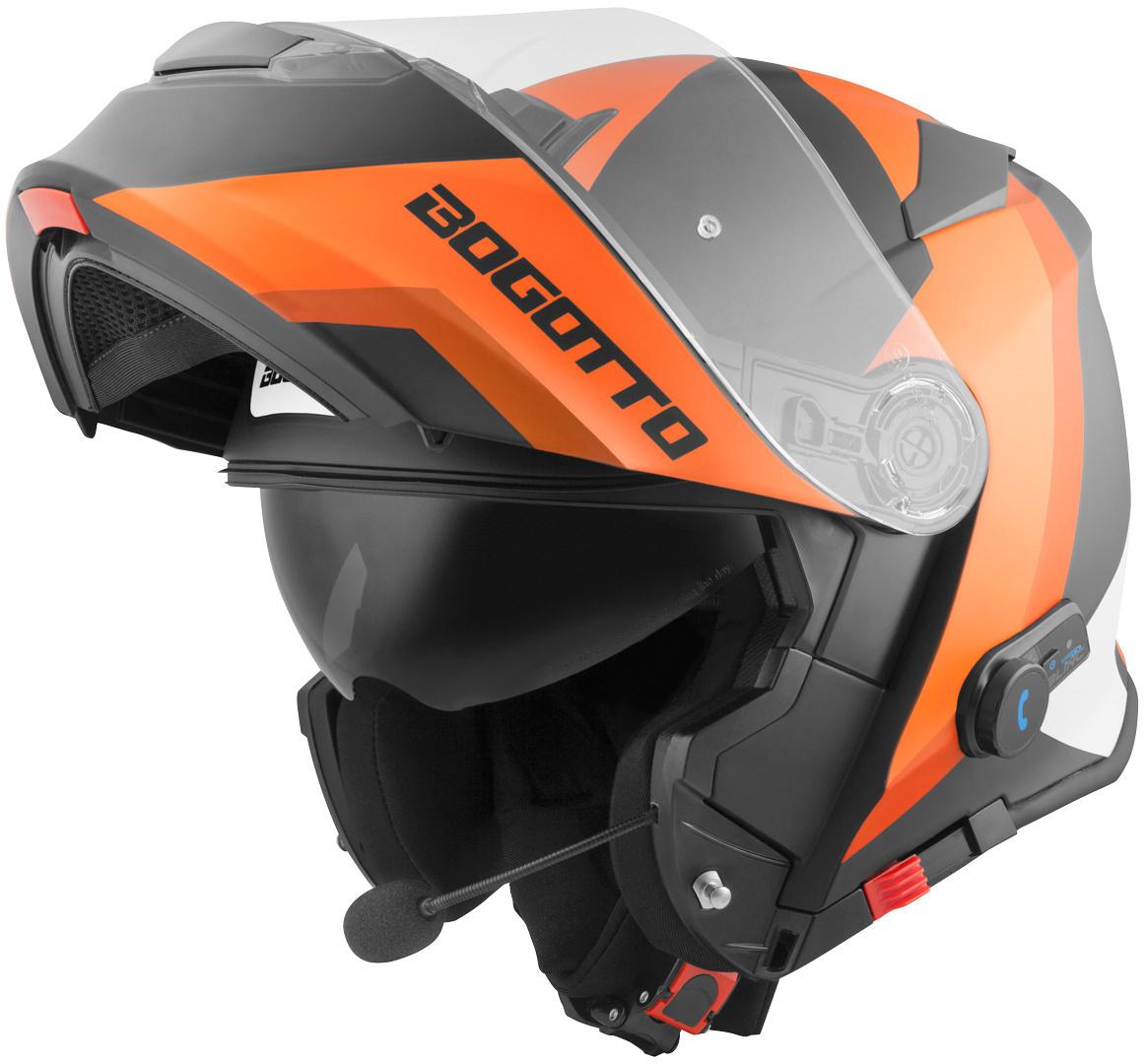 Bogotto V271 BT Zabu Bluetooth Klapphelm, schwarz-orange, Größe S, schwarz-orange, Größe S