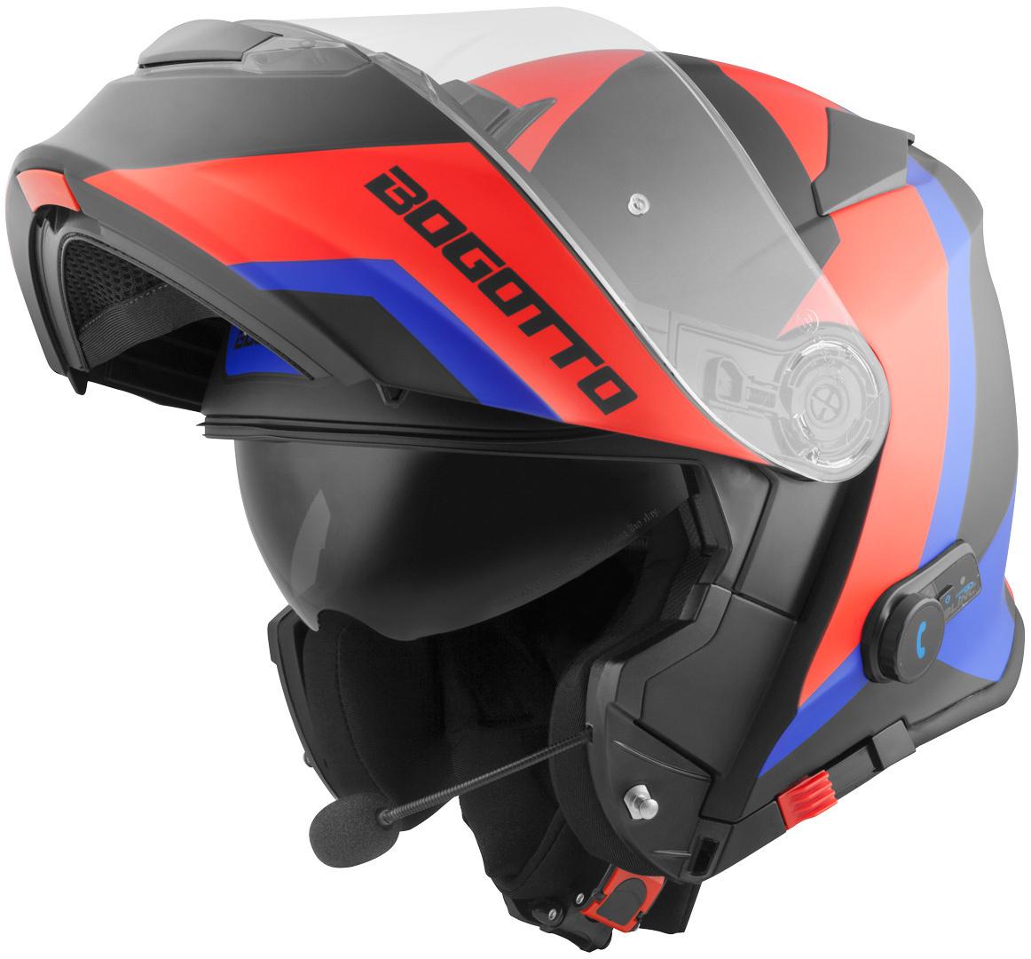 Bogotto V271 BT Zabu Bluetooth Klapphelm, schwarz-rot-blau, Größe XS, schwarz-rot-blau, Größe XS