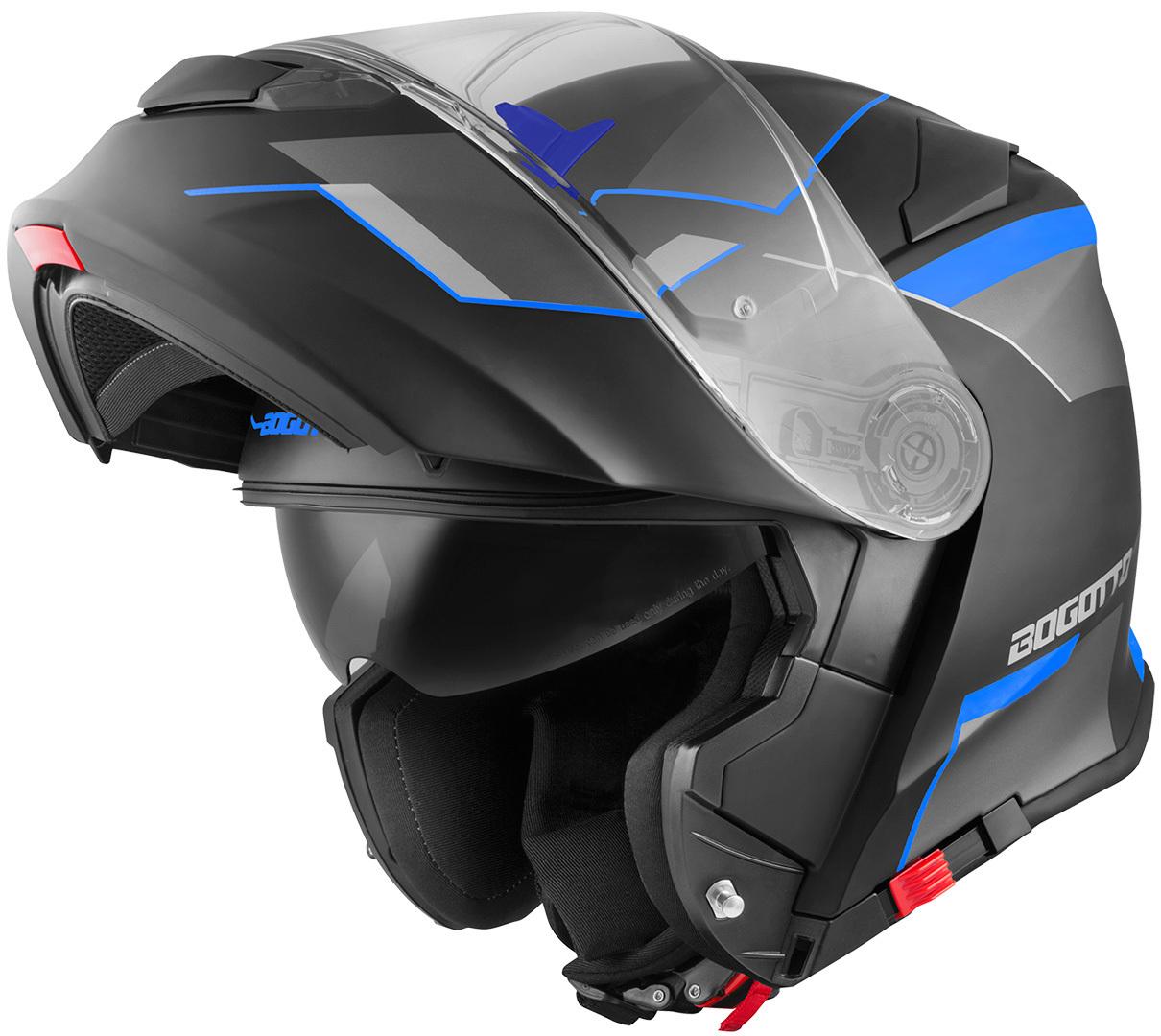 Bogotto V271 Delta Klapphelm, schwarz-blau, Größe 2XL, schwarz-blau, Größe 2XL