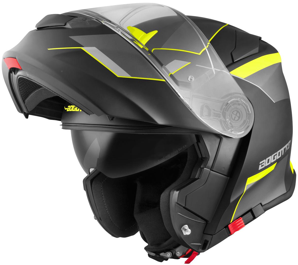 Bogotto V271 Delta Klapphelm, schwarz-gelb, Größe XL, schwarz-gelb, Größe XL