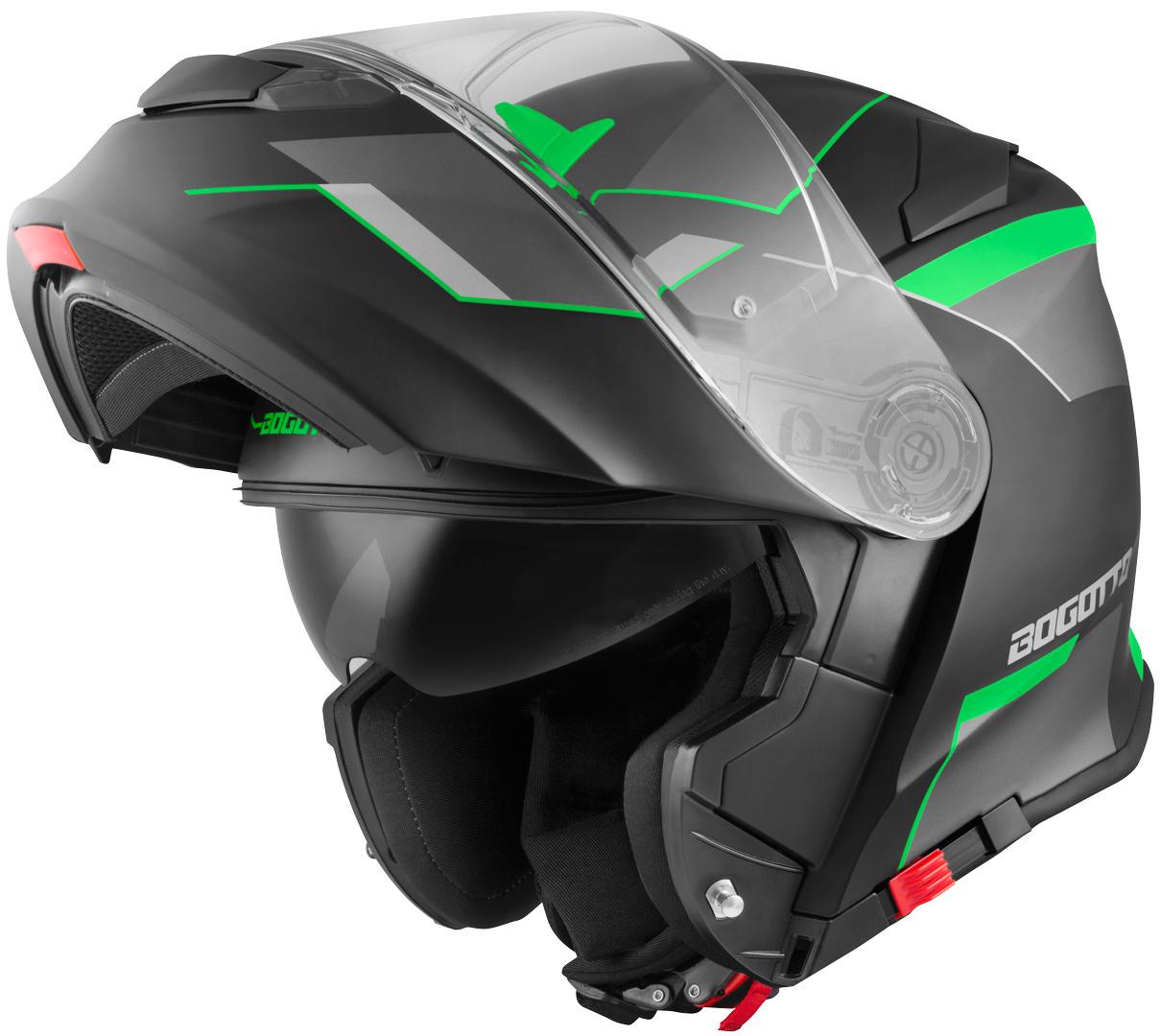 Bogotto V271 Delta Klapphelm, schwarz-grün, Größe XS, schwarz-grün, Größe XS