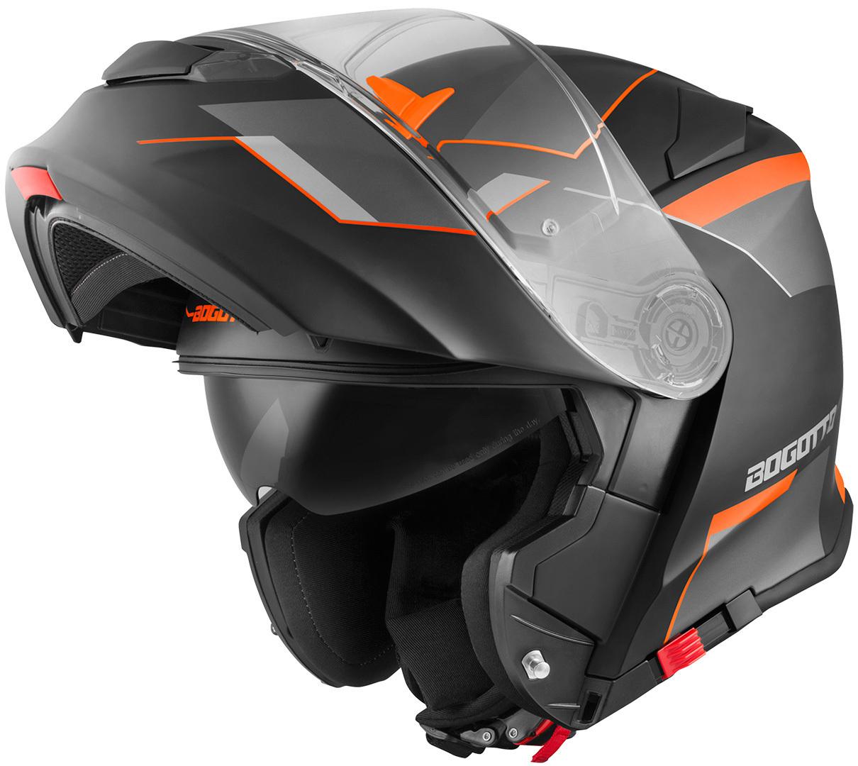 Bogotto V271 Delta Klapphelm, schwarz-orange, Größe XL, schwarz-orange, Größe XL
