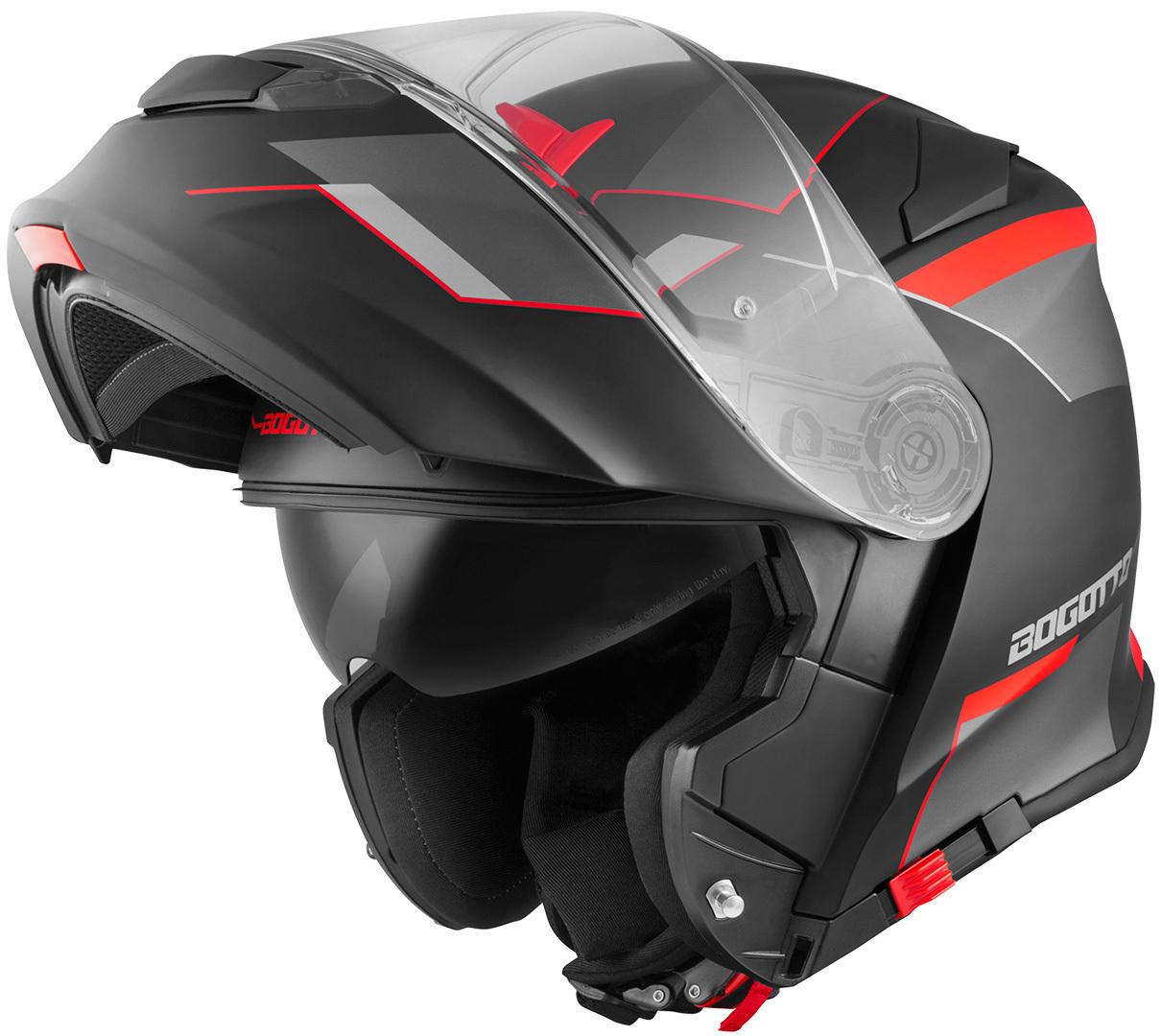 Bogotto V271 Delta Klapphelm, schwarz-rot, Größe XS, schwarz-rot, Größe XS